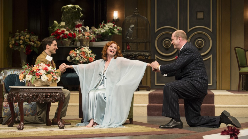 Charlie Gallant as Peter Sloan, Claire Jullien as Irene Livingston and Thom Marriott as Sidney Black in Light Up the Sky.
