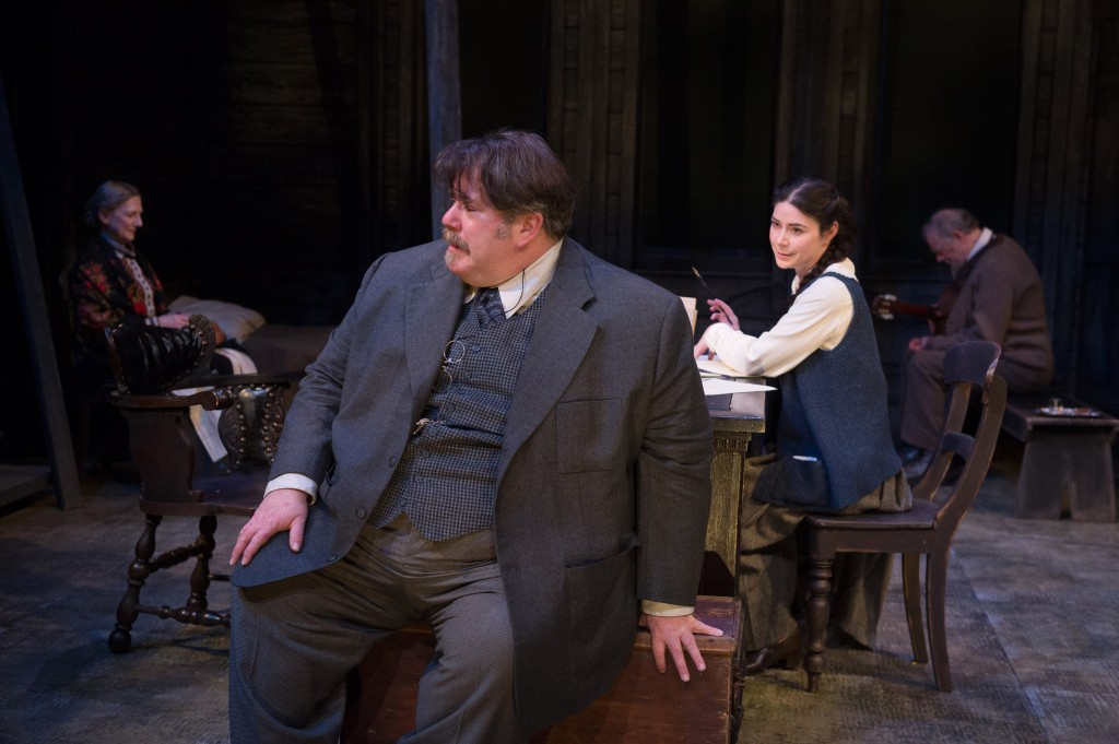(l to r, back) Sharry Flett as Marina, Peter Millard as Telegin, Marla McLean as Sophia Alexandrovna (Sonya) and Neil Barclay as Ivan Petrovich (Vanya) in Uncle Vanya. Photo by David Cooper.