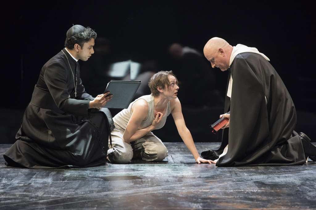 Andrew Lawrie as Brother Martin Ladvenu, Sara Topham as Joan and Jim Mezon as the Inquisitor in Saint Joan. Photo by David Cooper.