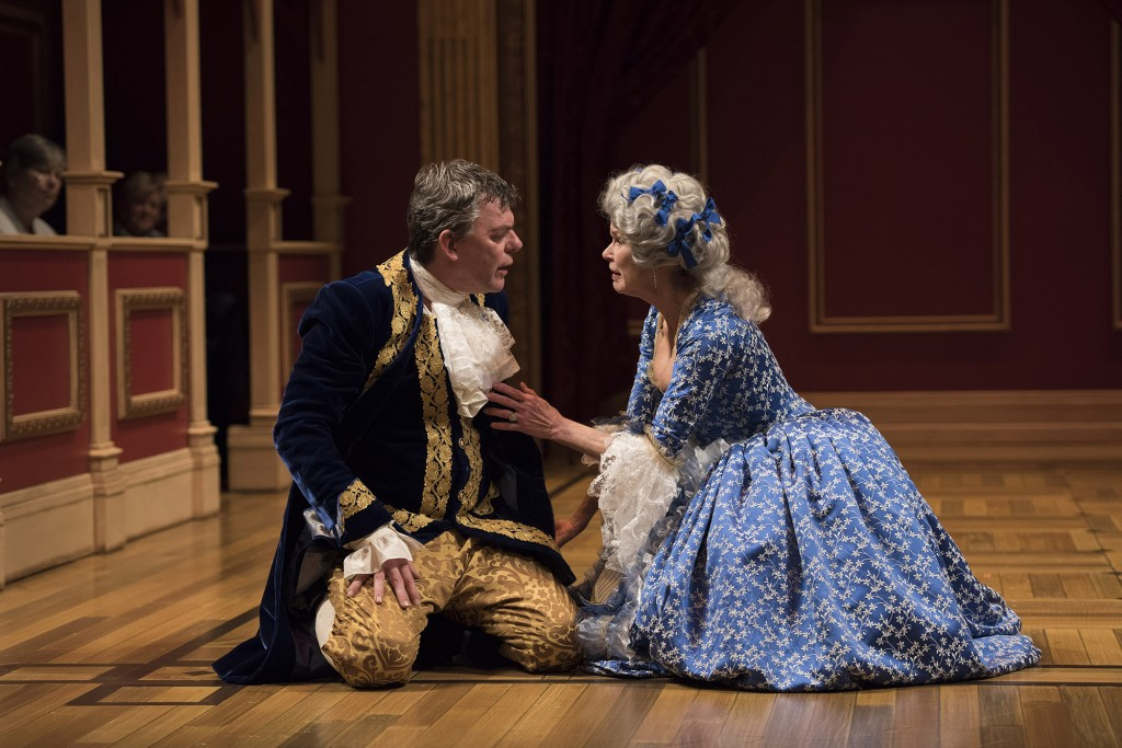 Tom McCamus as George III and Chick Reid as Queen Charlotte in The Madness of George III. Photo by David Cooper.